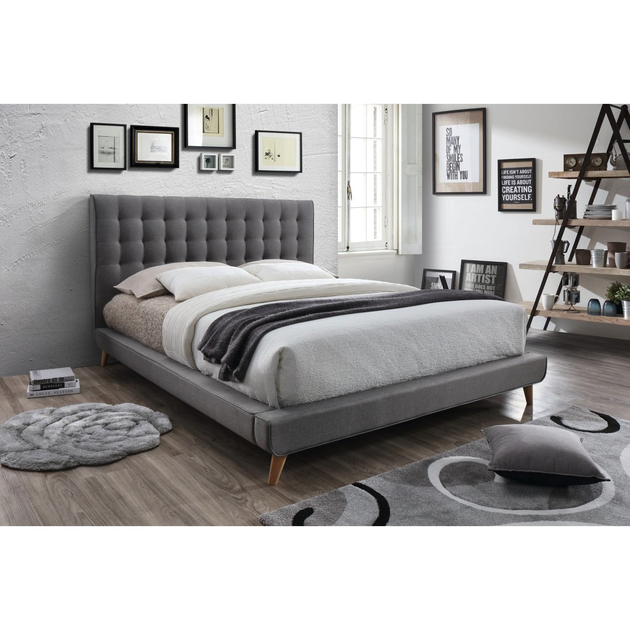 Jacob Fabric Platform Bed, Queen