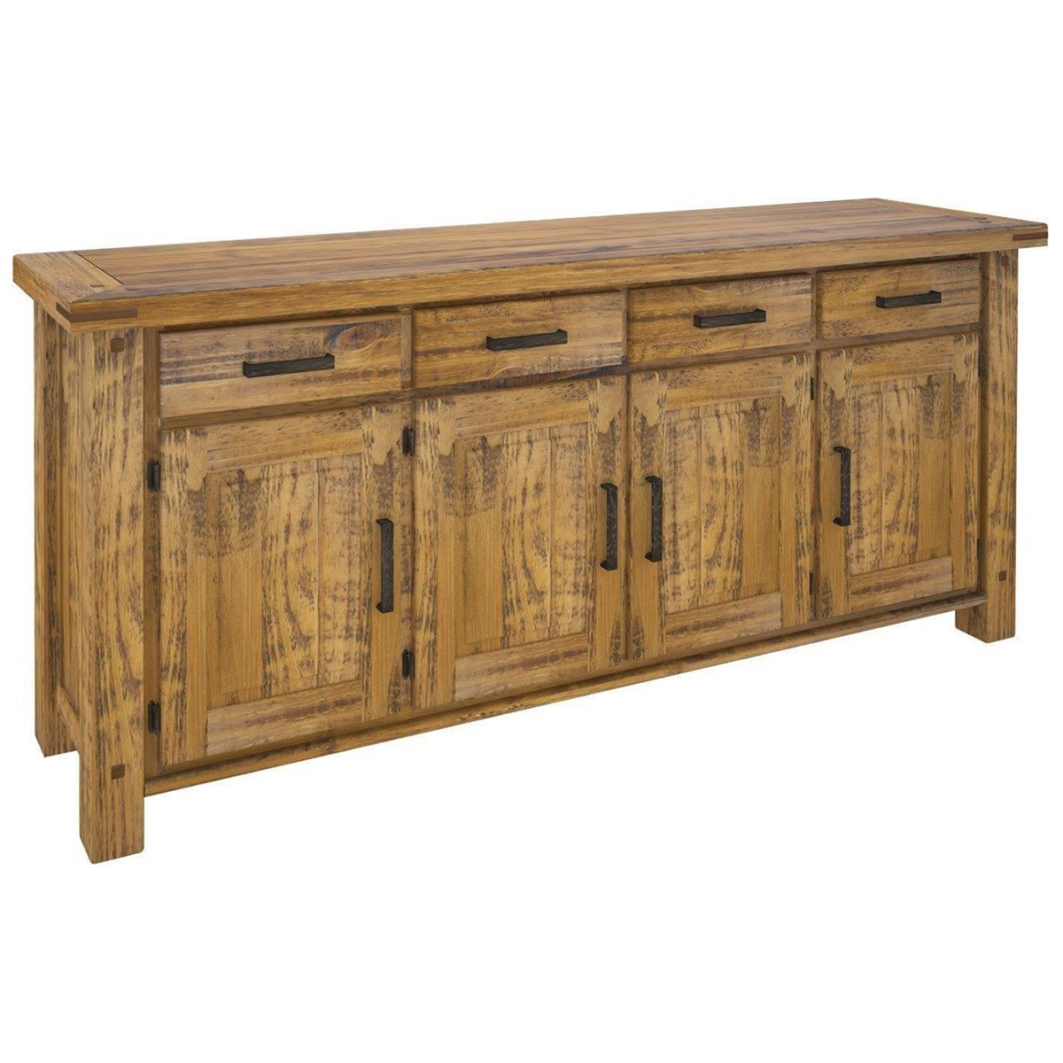 Serafin Rustic Pine Timber 4 Door 4 Drawer Buffet Table, 191cm
