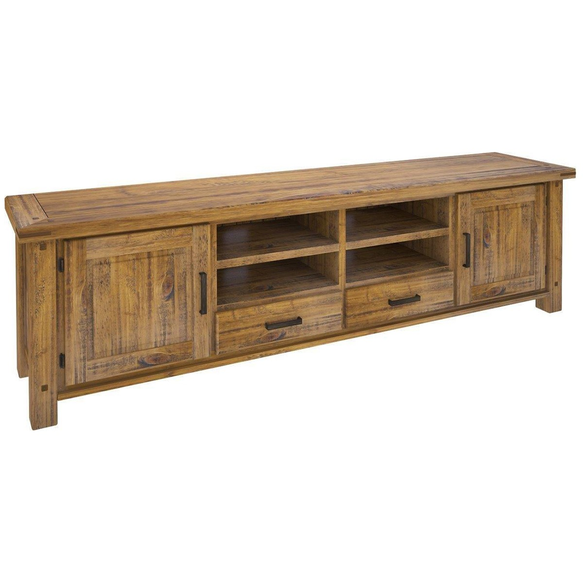 Serafin Rustic Pine Timber 2 Door 2 Drawer TV Unit, 240cm