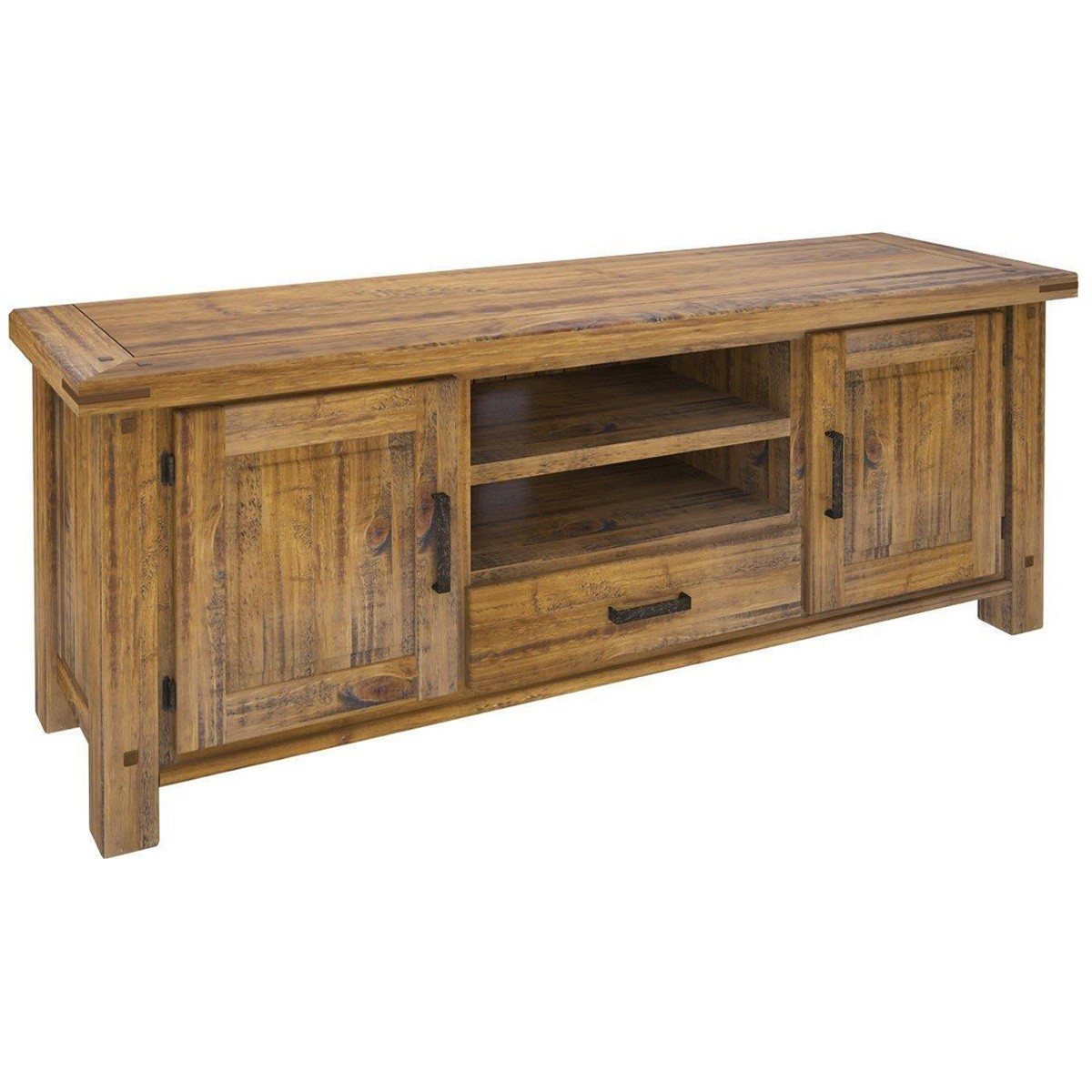 Serafin Rustic Pine Timber 2 Door 1 Drawer TV Unit, 180cm