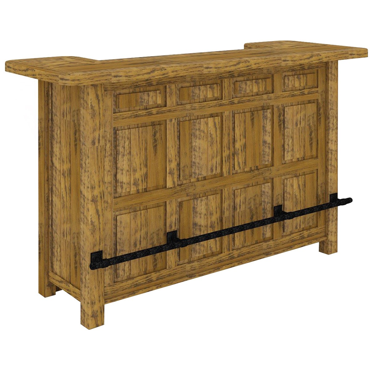Serafin Rustic Pine Timber Bar Counter, 192cm