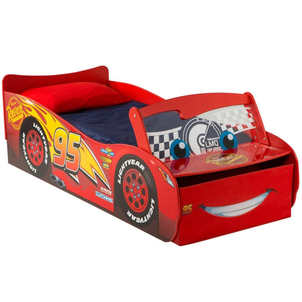 Worlds Apart Disney Cars Lightning McQueen Toddler Bed with Storage