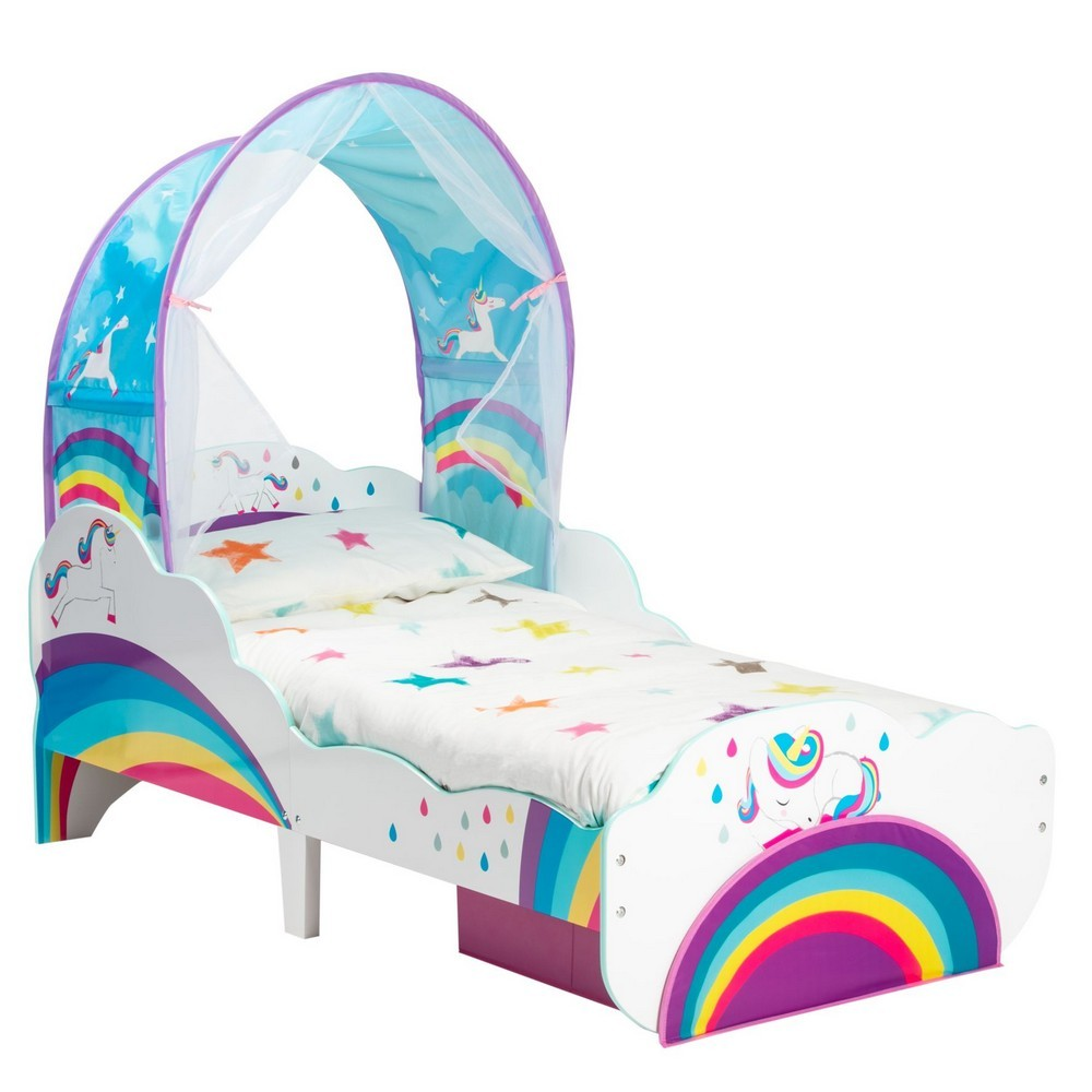 Worlds Apart Rainbow Unicorn Toddler Bed with Canopy & Storage
