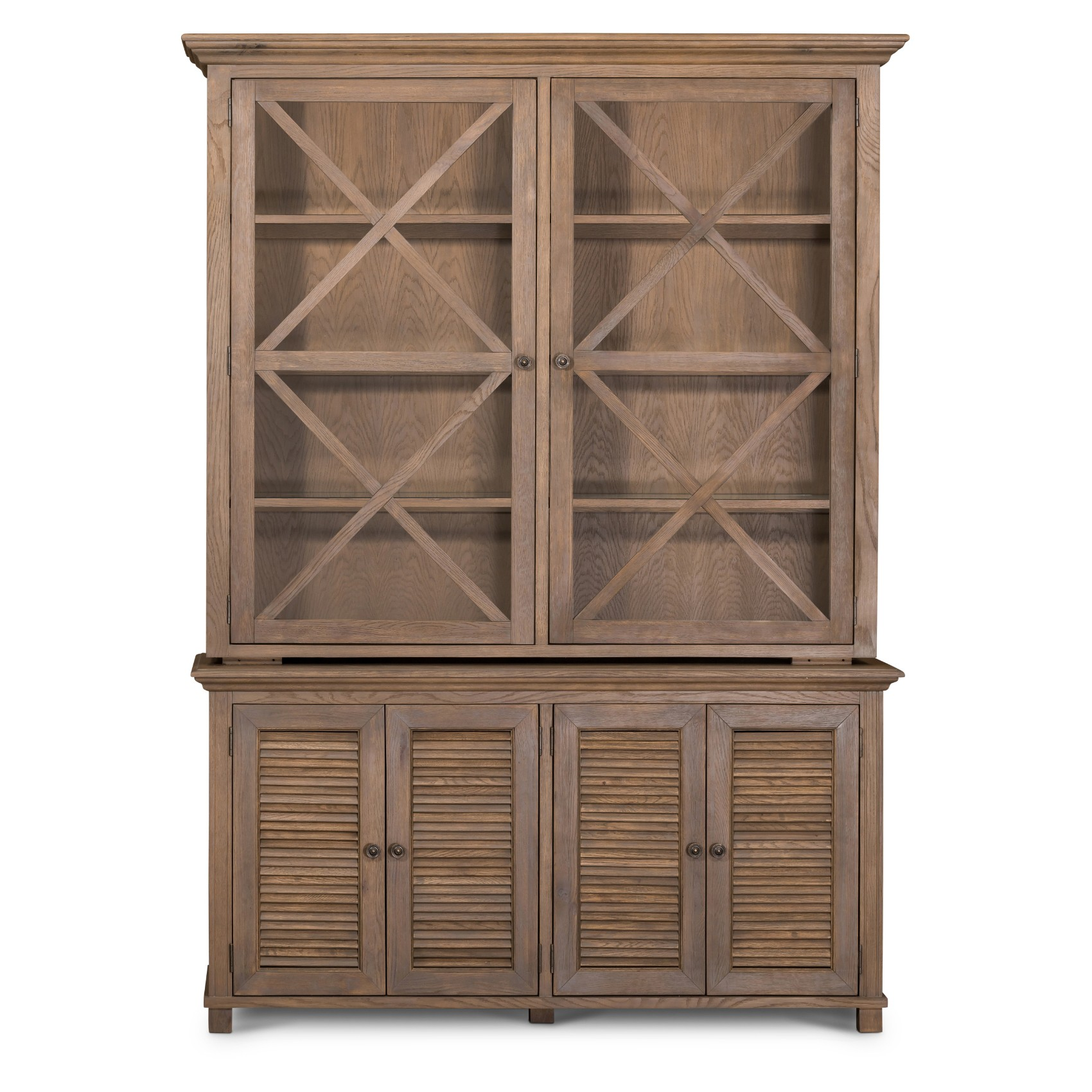 West Beach Wooden Glass Door Hutch Cabinet, Antique Oak