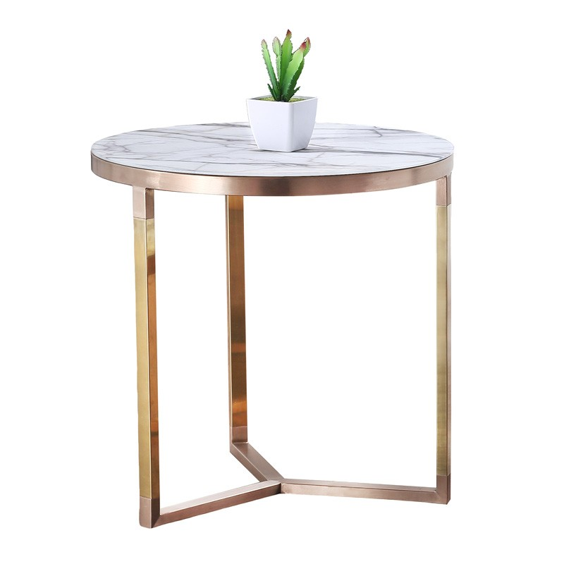 Lagina Marble Top Metal Round Side Table