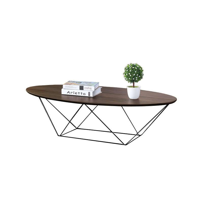 Eavan Wooden Top Metal Oval Coffee Table, 120cm