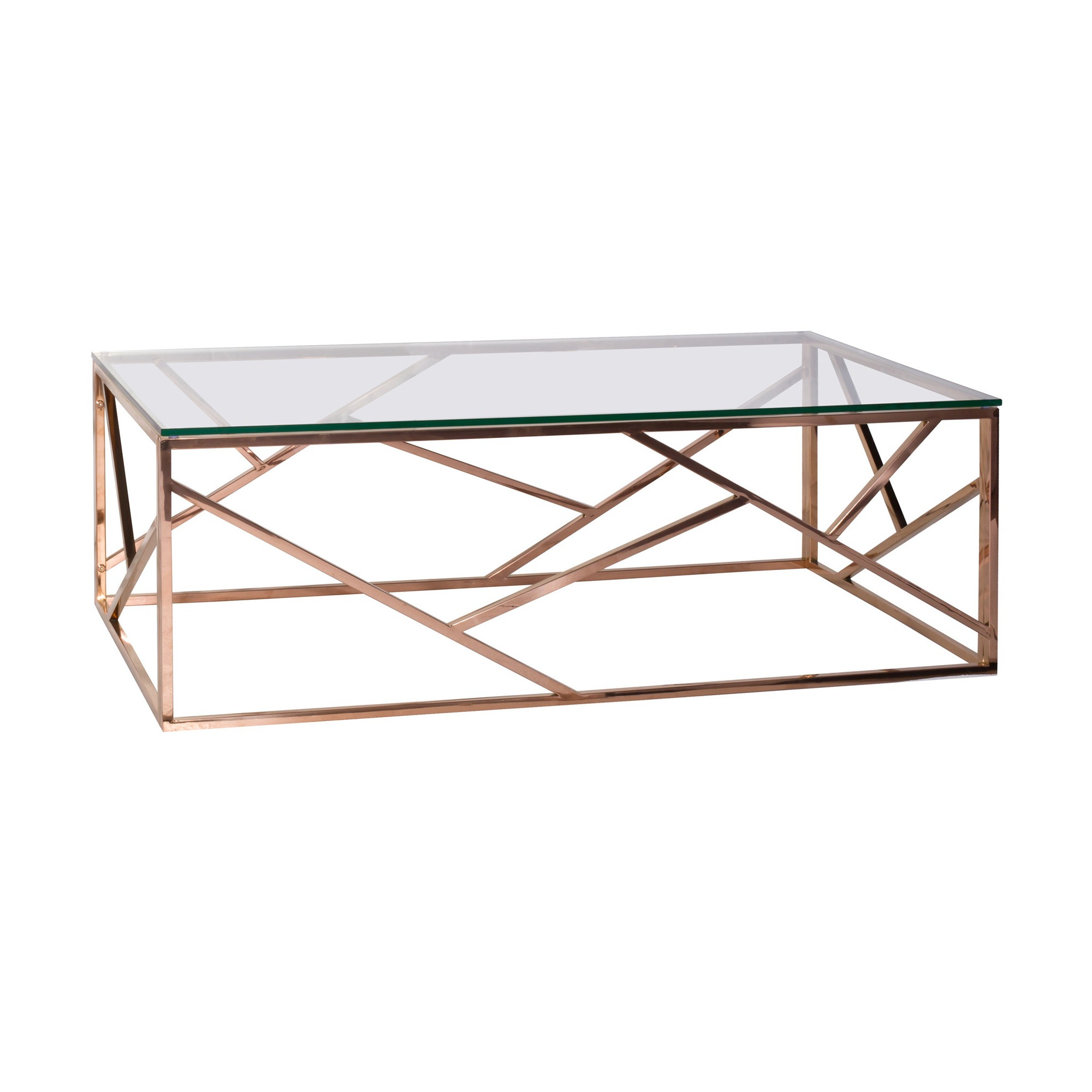 Robina Glass Top Metal Coffee Table, 120cm