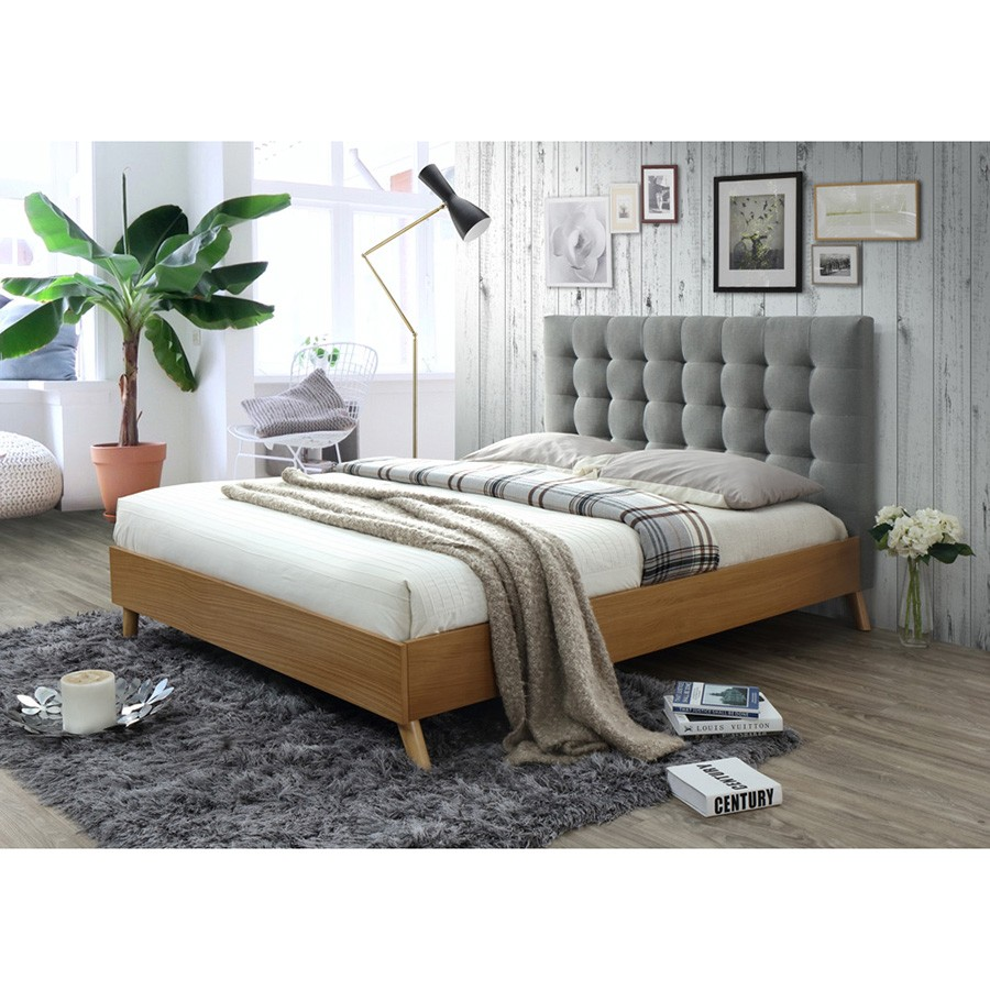 Woodbine Wooden Bed with Tufted Fabric Headboard, Queen