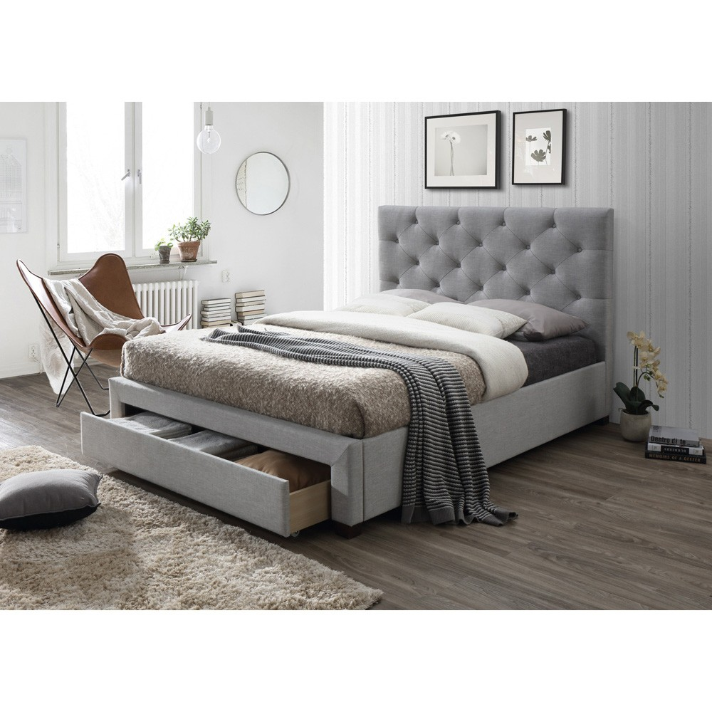 Calvine Fabric Bed with End Drawer, Queen