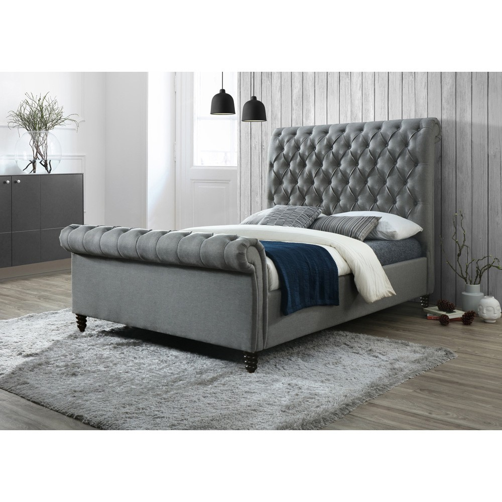 Denholm Fabric Sleigh Bed, King