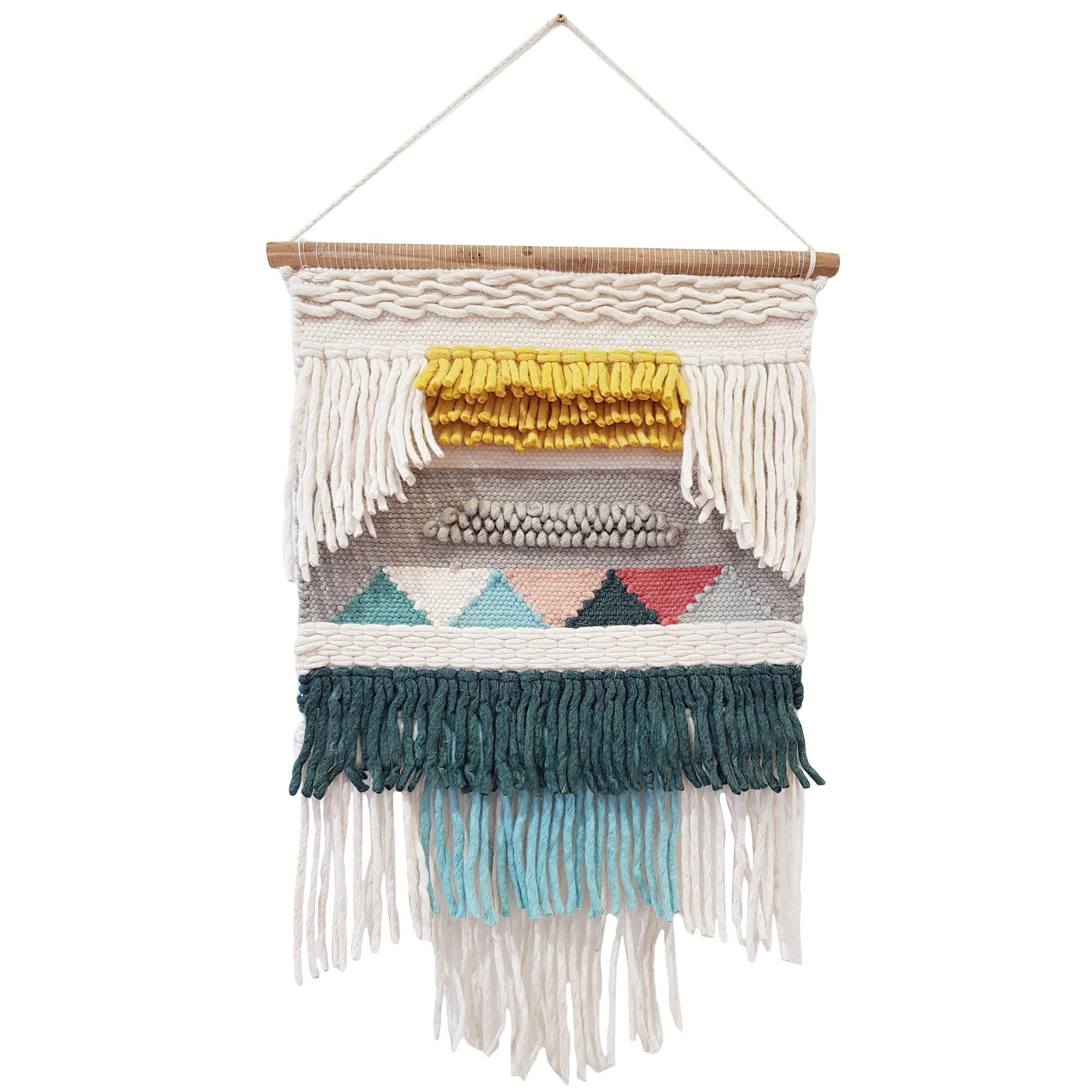 Rosa Handwoven Wool Macrame Wall Hanging
