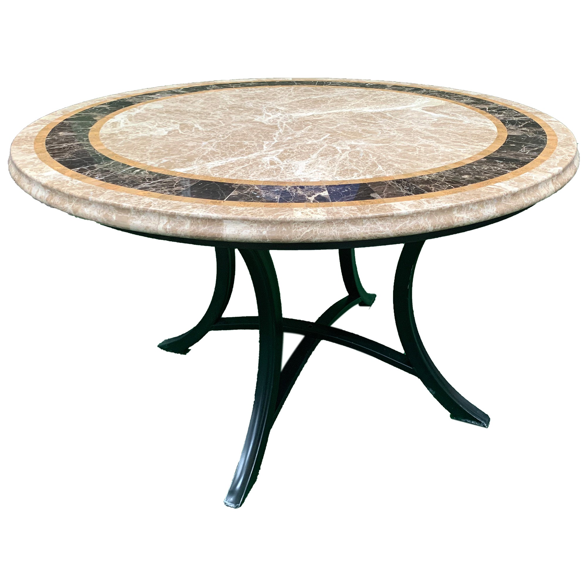 Saturn Marble Stone Round Outdoor Dining Table, 120cm