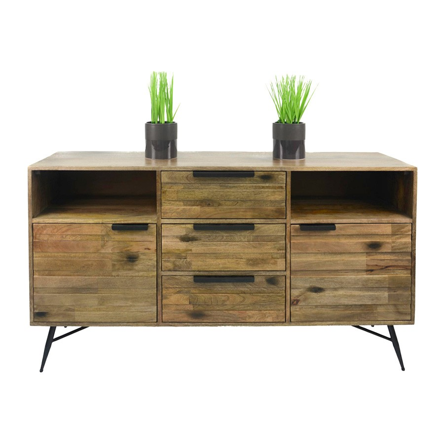 Watson Mango Wood & Metal 2 Door 3 Drawer Buffet Table, 150cm