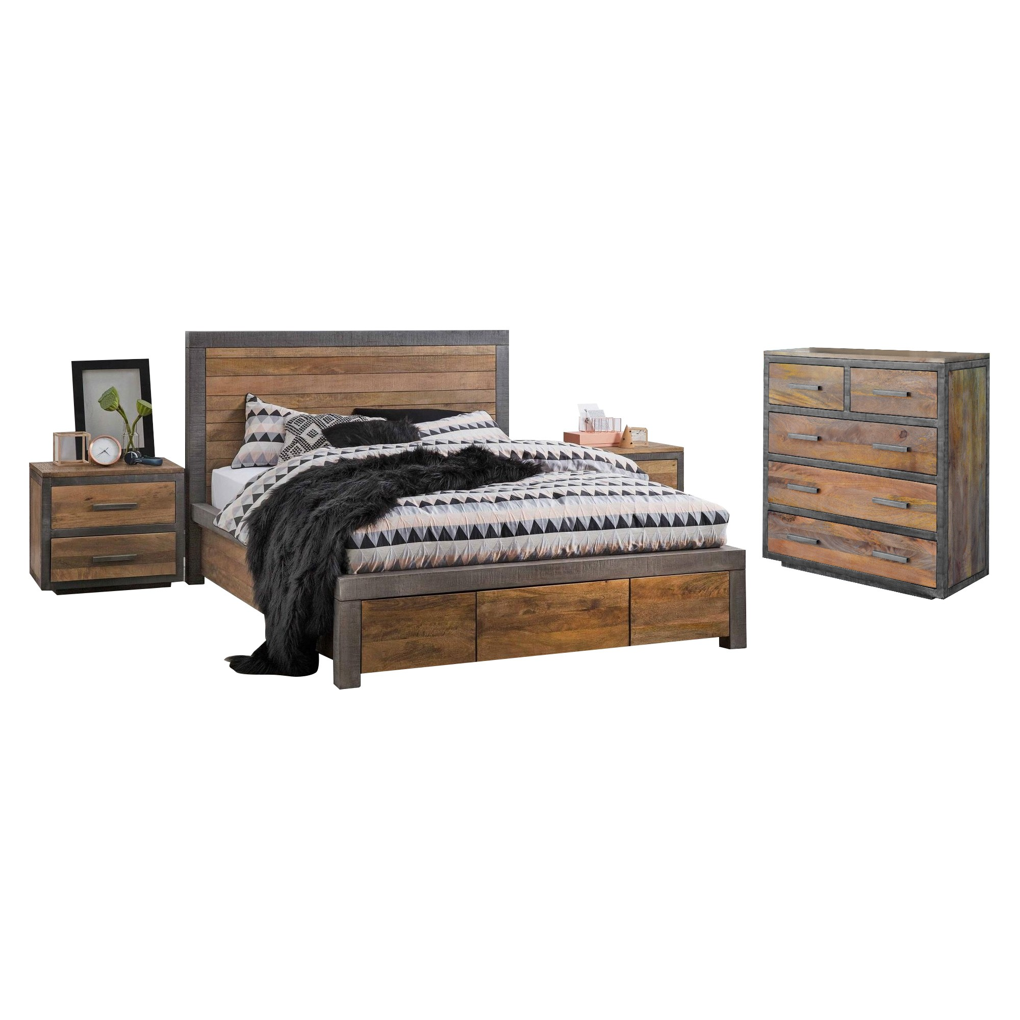 Solon 4 Piece Mango Wood Bedroom Tallboy Suite, Queen