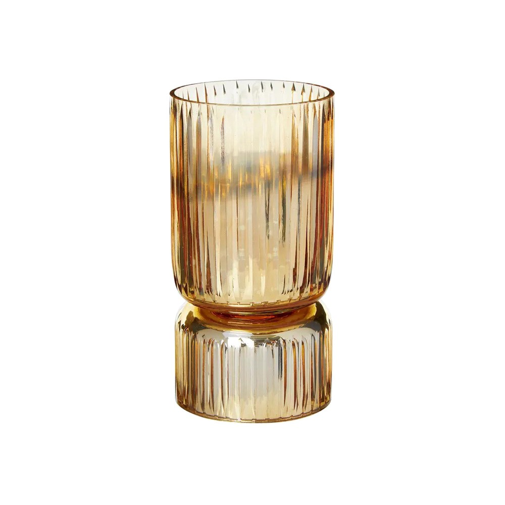 Zeale Glass Candle Holder, Small, Amber