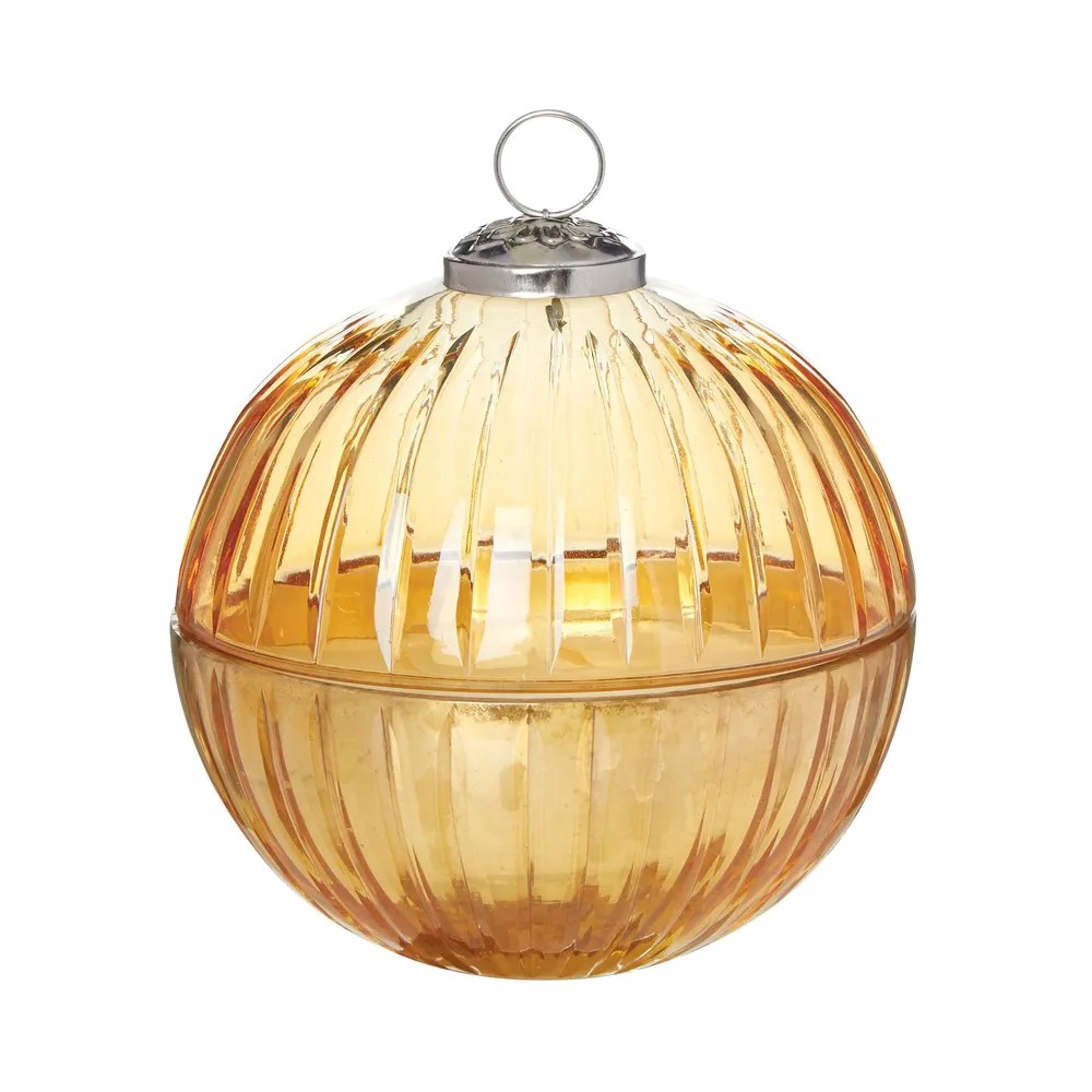 Veolia Glass Lidded Ball Candle, Large, Amber
