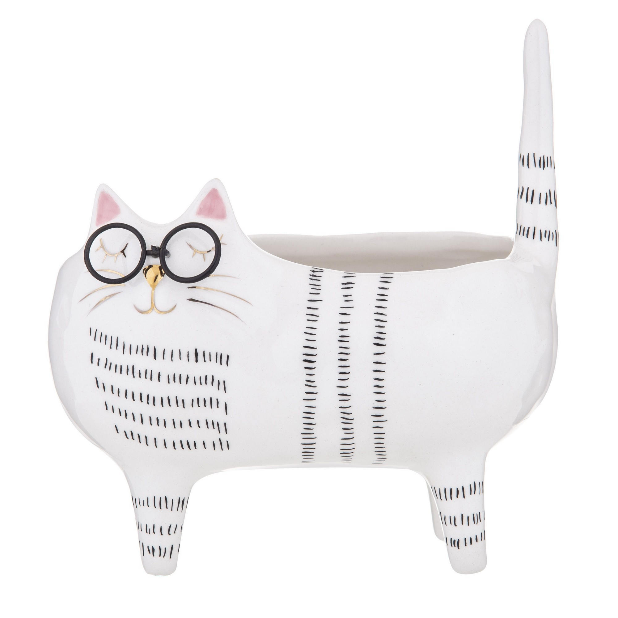 Pudd Dolomite Cat Planter Pot, Mr. Pudd