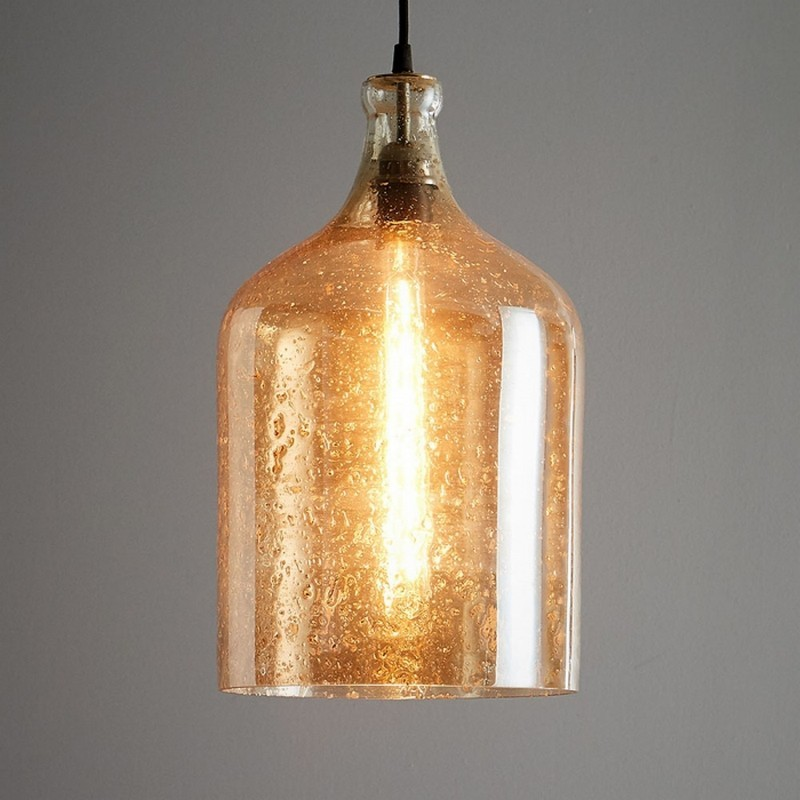 Lustre Glass Pendant Light, Flagon, Pale Gold