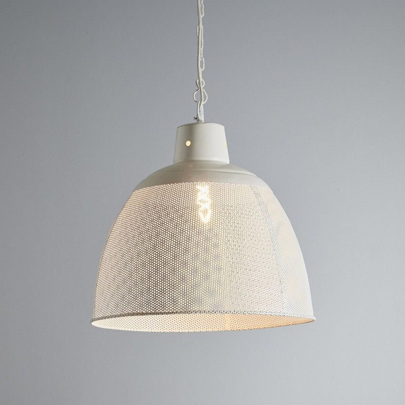 Riva Perforated Iron Dome Pendant Light, Large, Matte White
