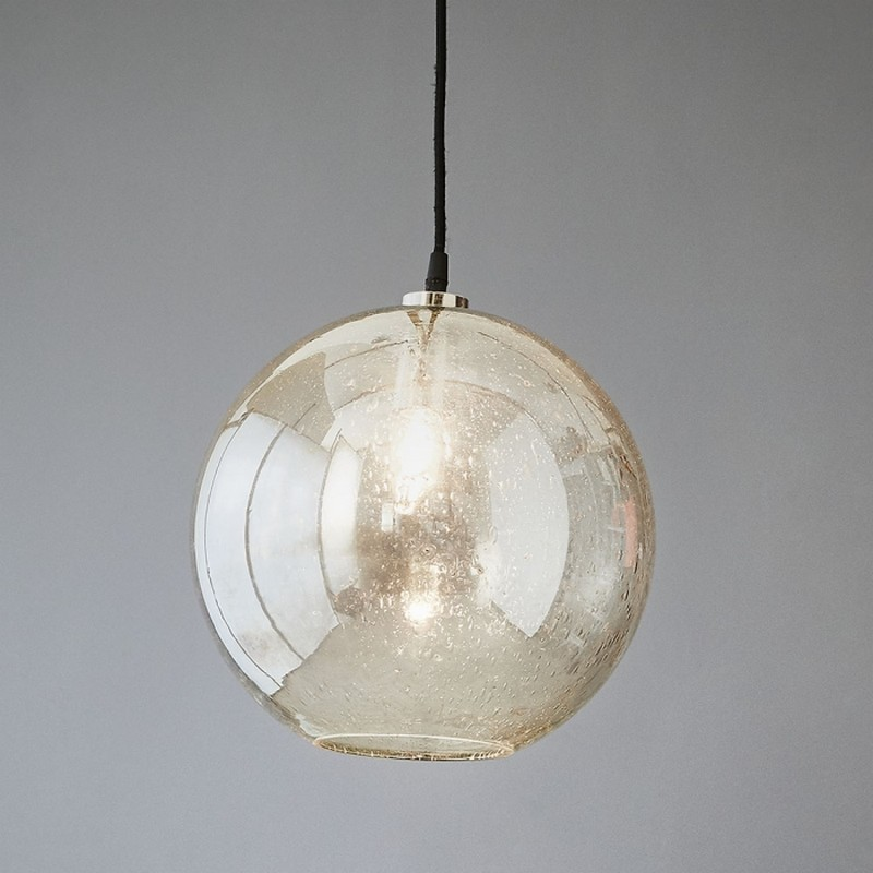 Lustre Glass Pendant Light, Ball, Clear