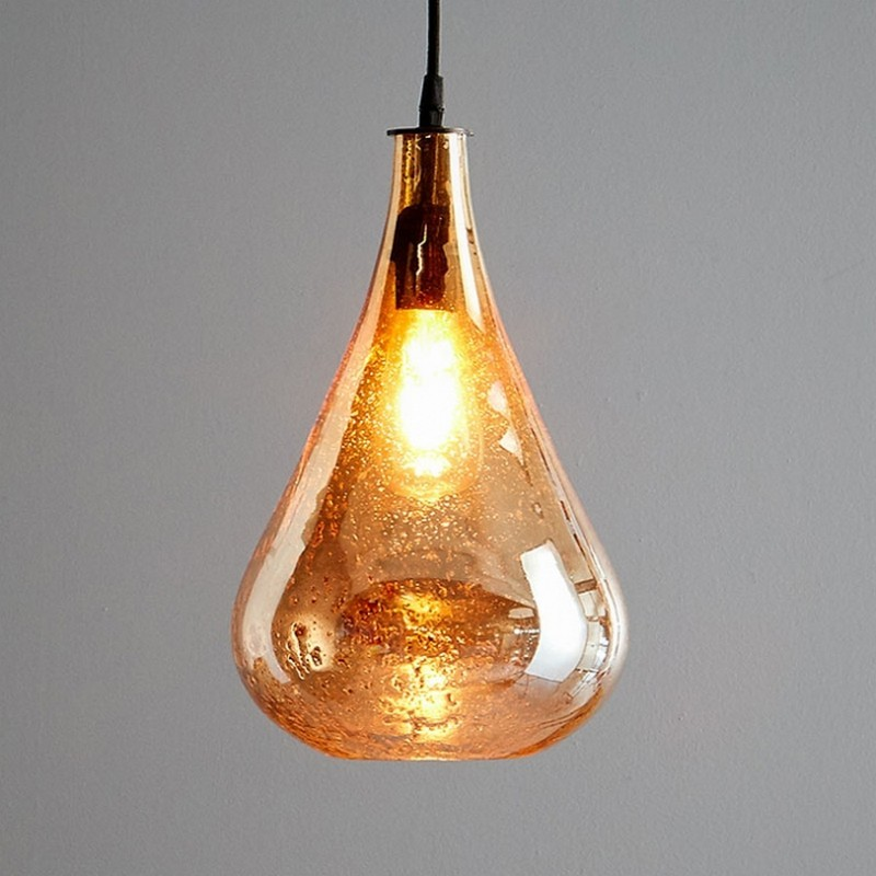 Lustre Glass Pendant Light, Teardrop, Pale Gold