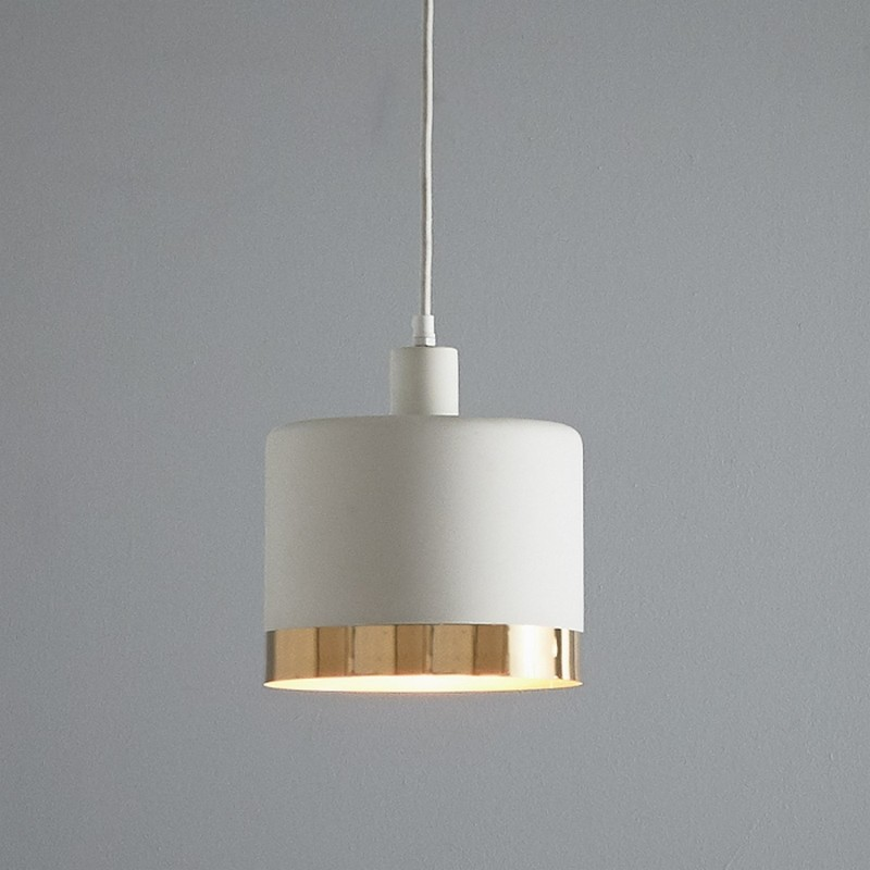 Montreux Metal Drum Pendant Light, Medium, White / Gold