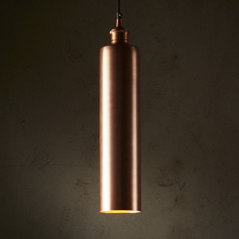 Zurich Metal Tube Pendant Light, Antique Copper