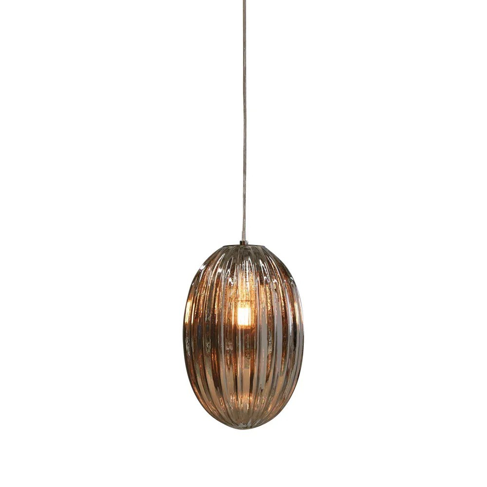Costolette Ribbed Glass Pod Pendant Light, Small, Smoke Grey