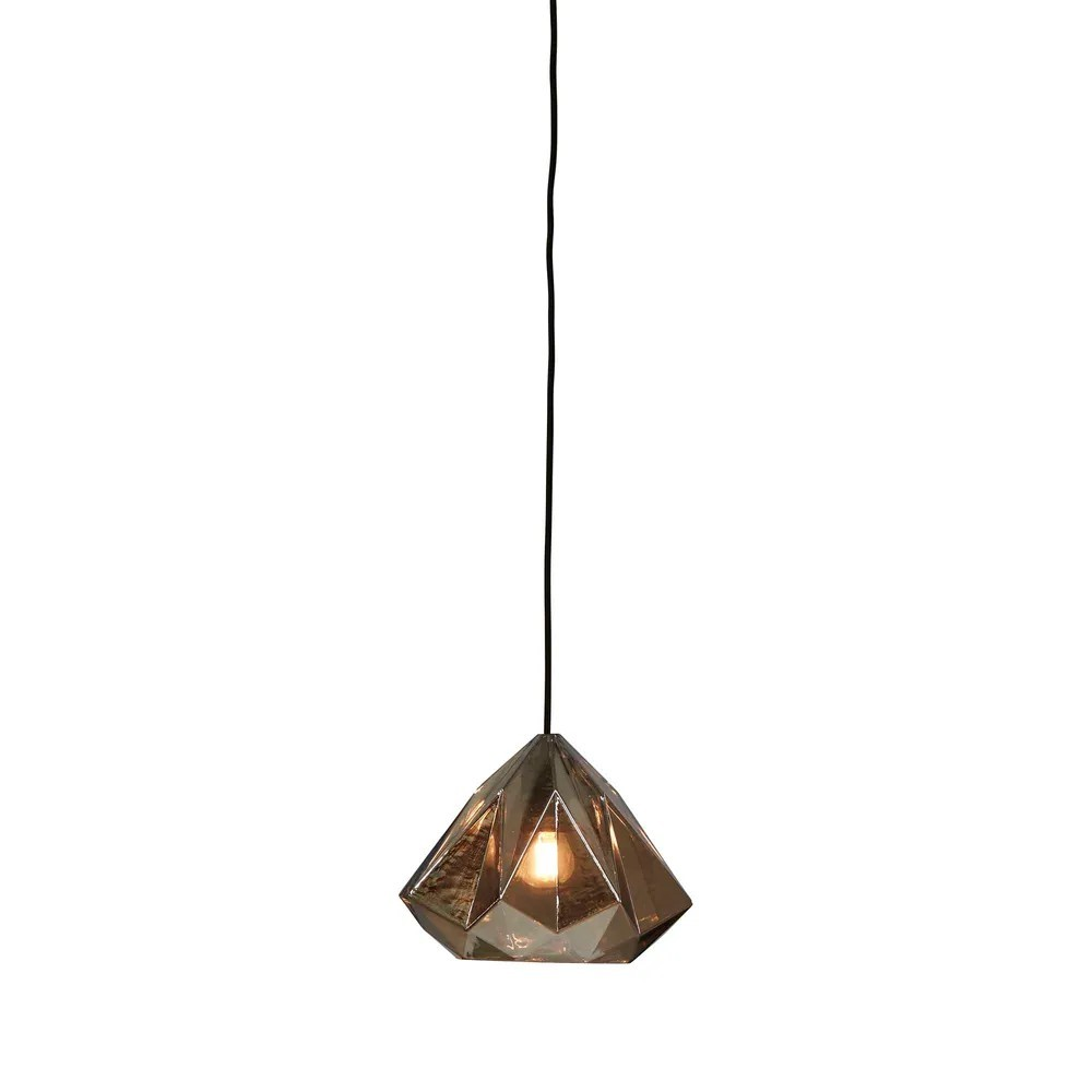 Graff Faceted Glass Droplet Pendant Light, Smoke Grey