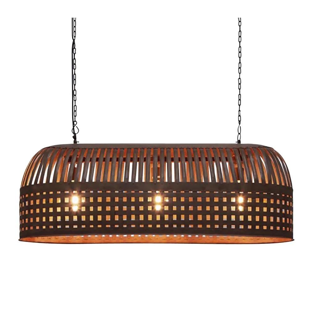 Esch Iron Pendant Light, Elongated, Rust