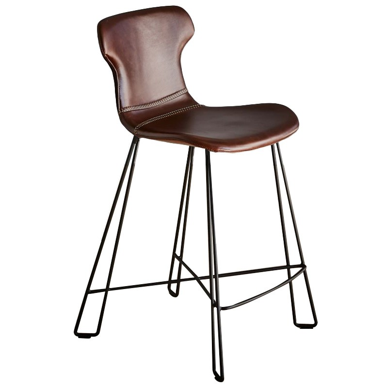 Yonkers Leather Counter Stool, Brown