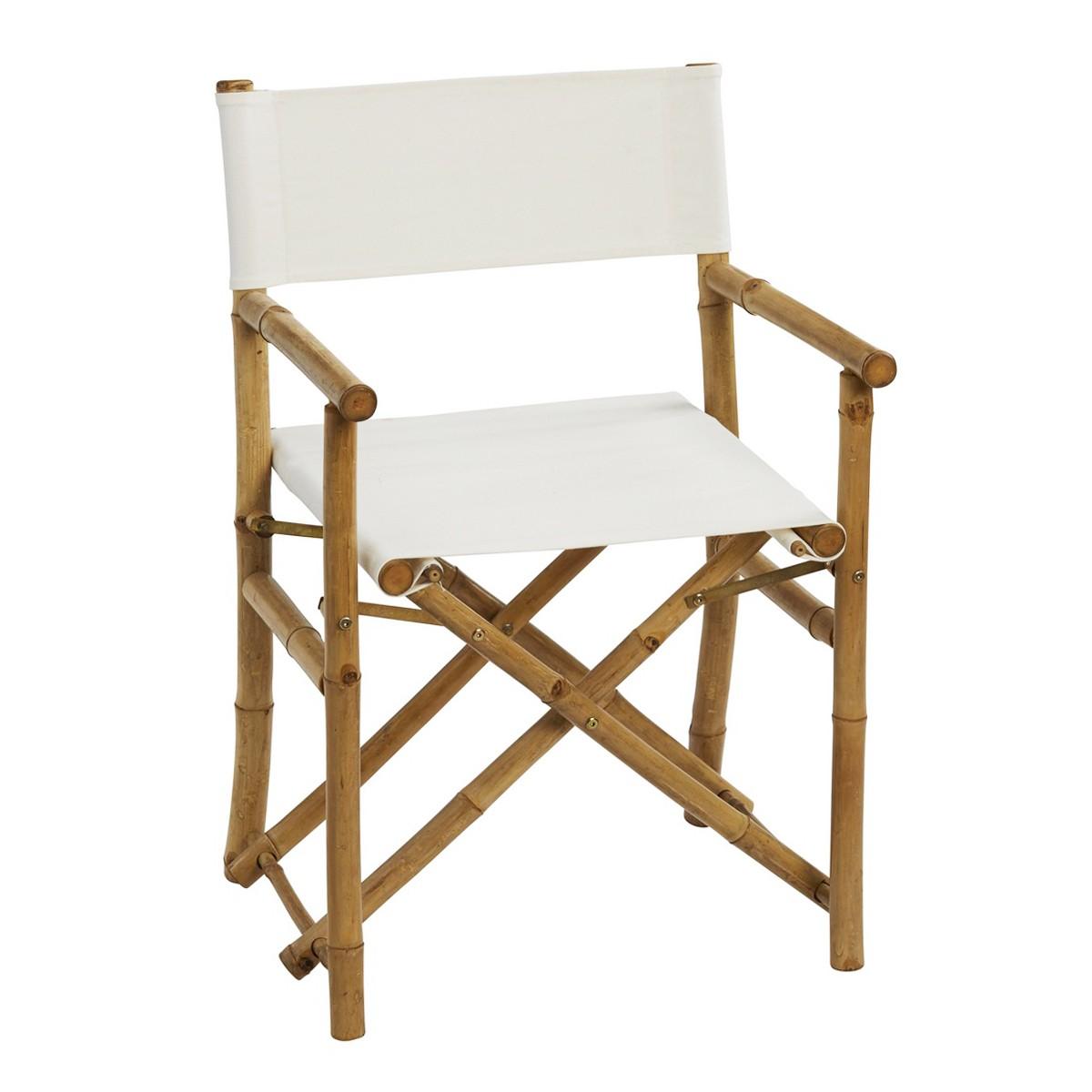 Sahnish Bamboo & Cotton Fabric Armchair, Ivory / Natural