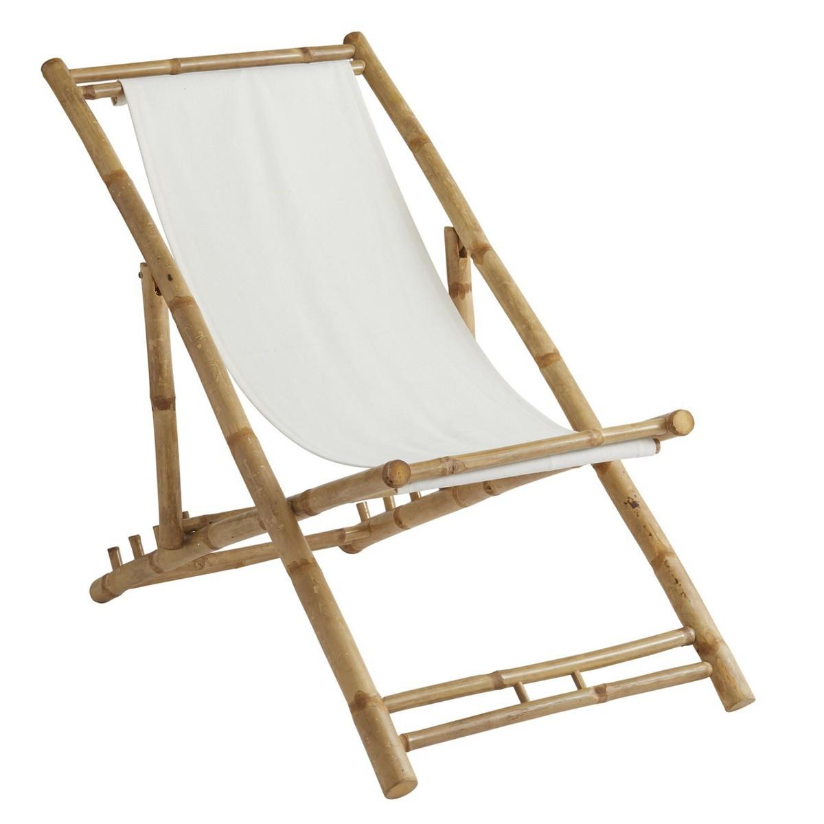 Sahnish Bamboo & Cotton Fabric Beach Chair,  Ivory / Natural