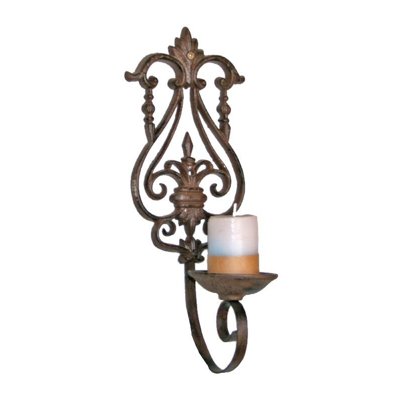 Fleur De Lis Cast Iron Wall Mount Candle Holder, Antique Rust