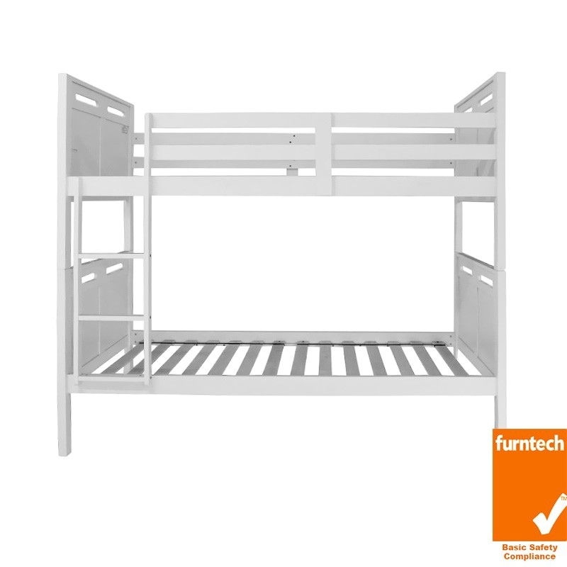 Ned Rubber Wood Bunk Bed, Single, White