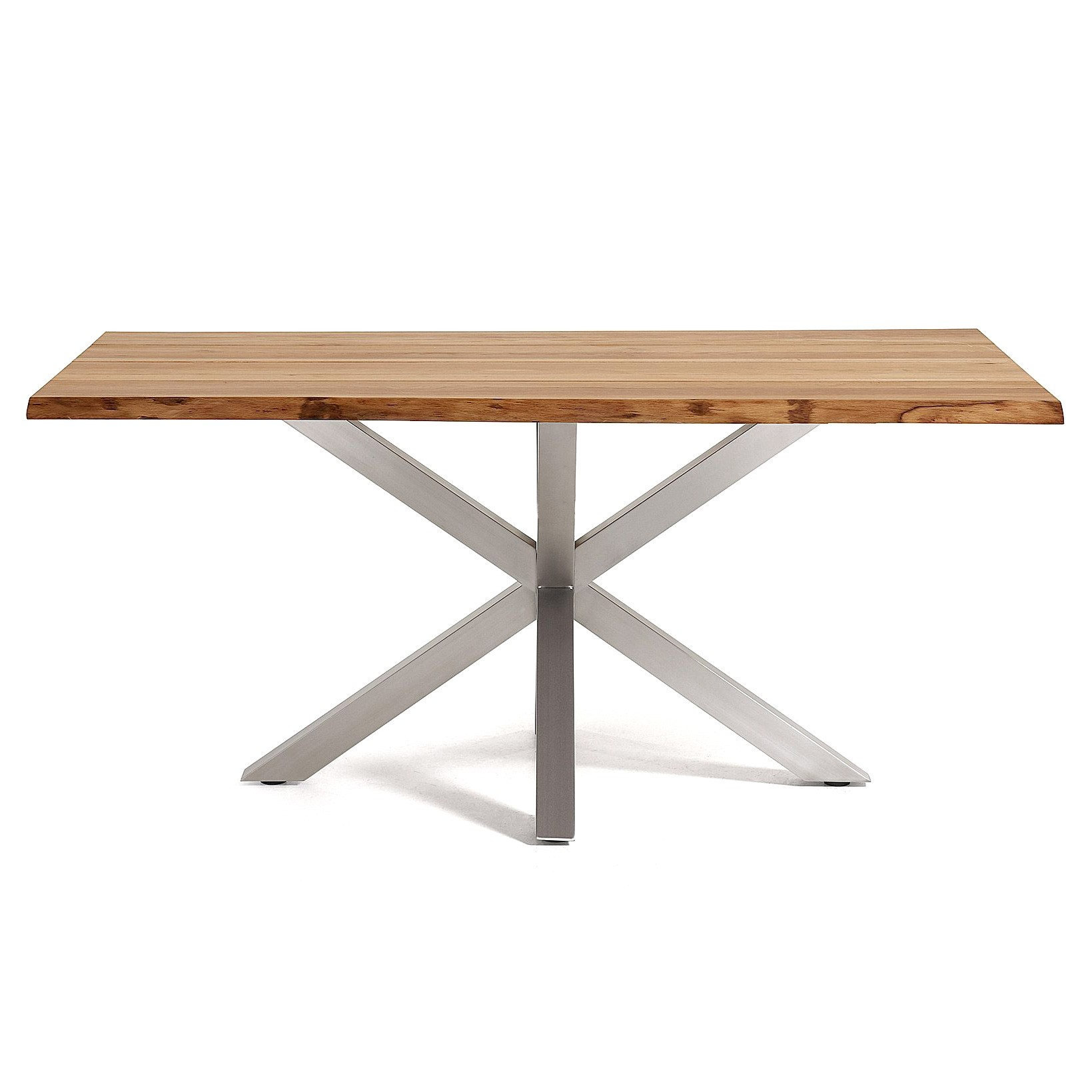Bromley Oak Veneer & Stainless Steel Dining Table, 180cm, Natural / Silver