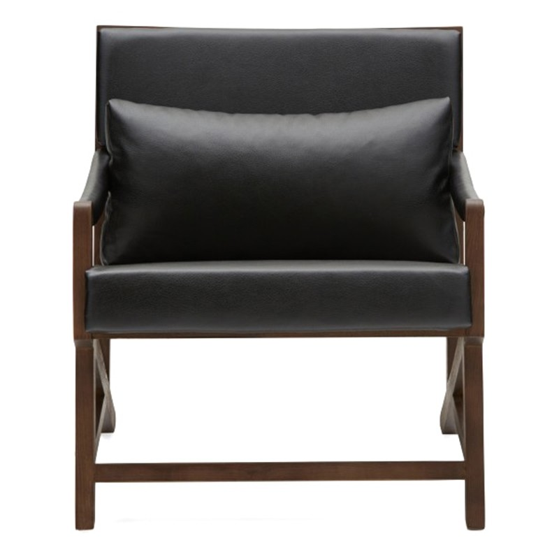 Carmello PU Leather & Timber Lounge Armchair