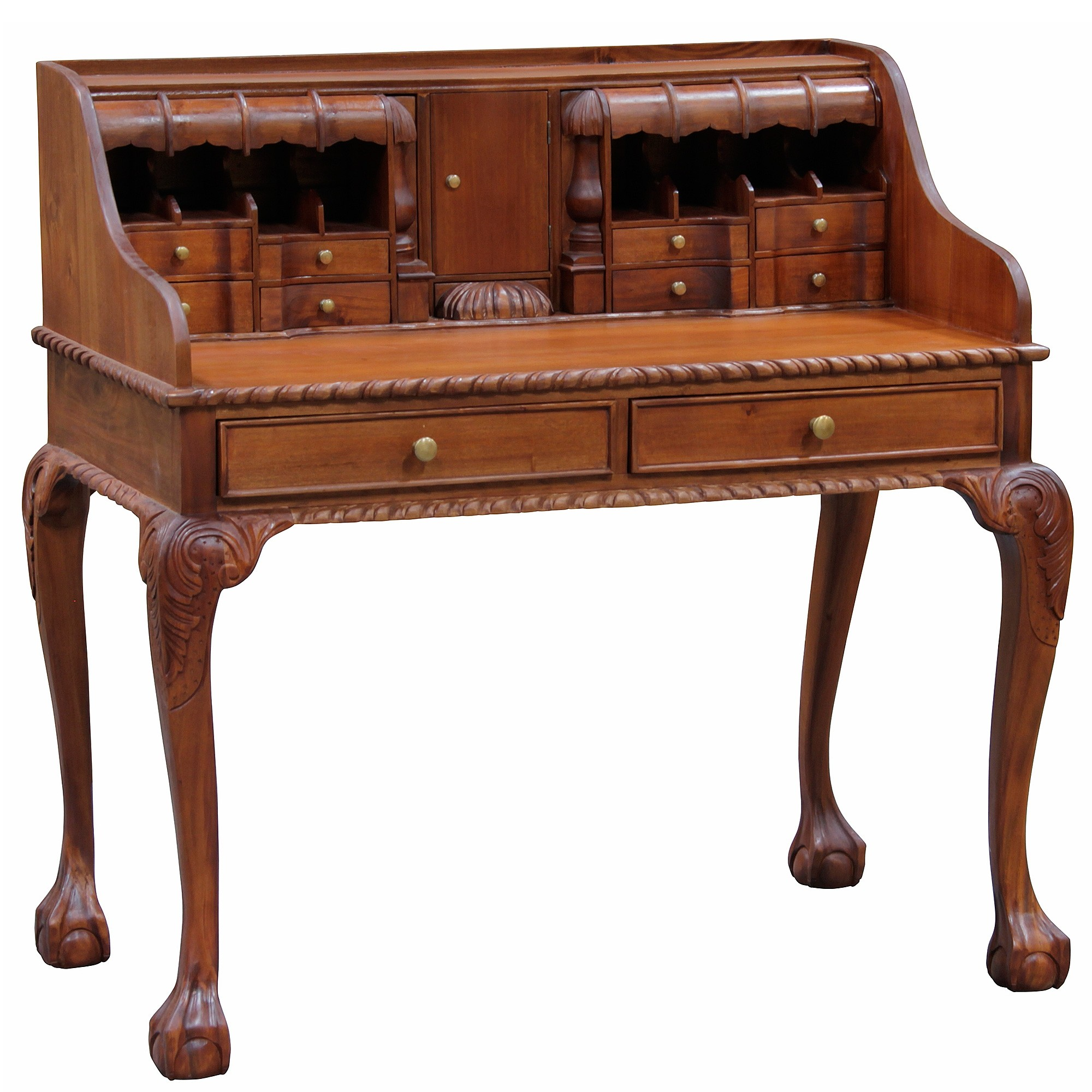 Queen Ann Solid Mahogany Timber Secretarys Desk - Light Pecan