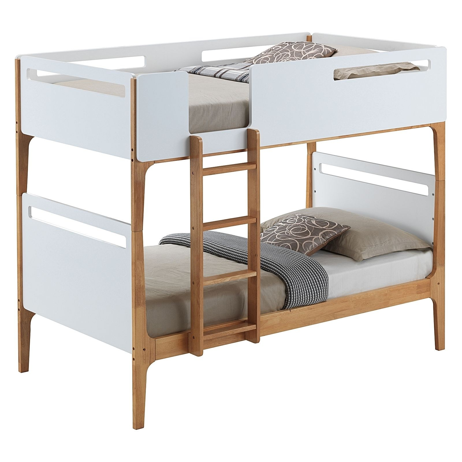 Hayes Wooden Bunk Bed, Single, White / Oak