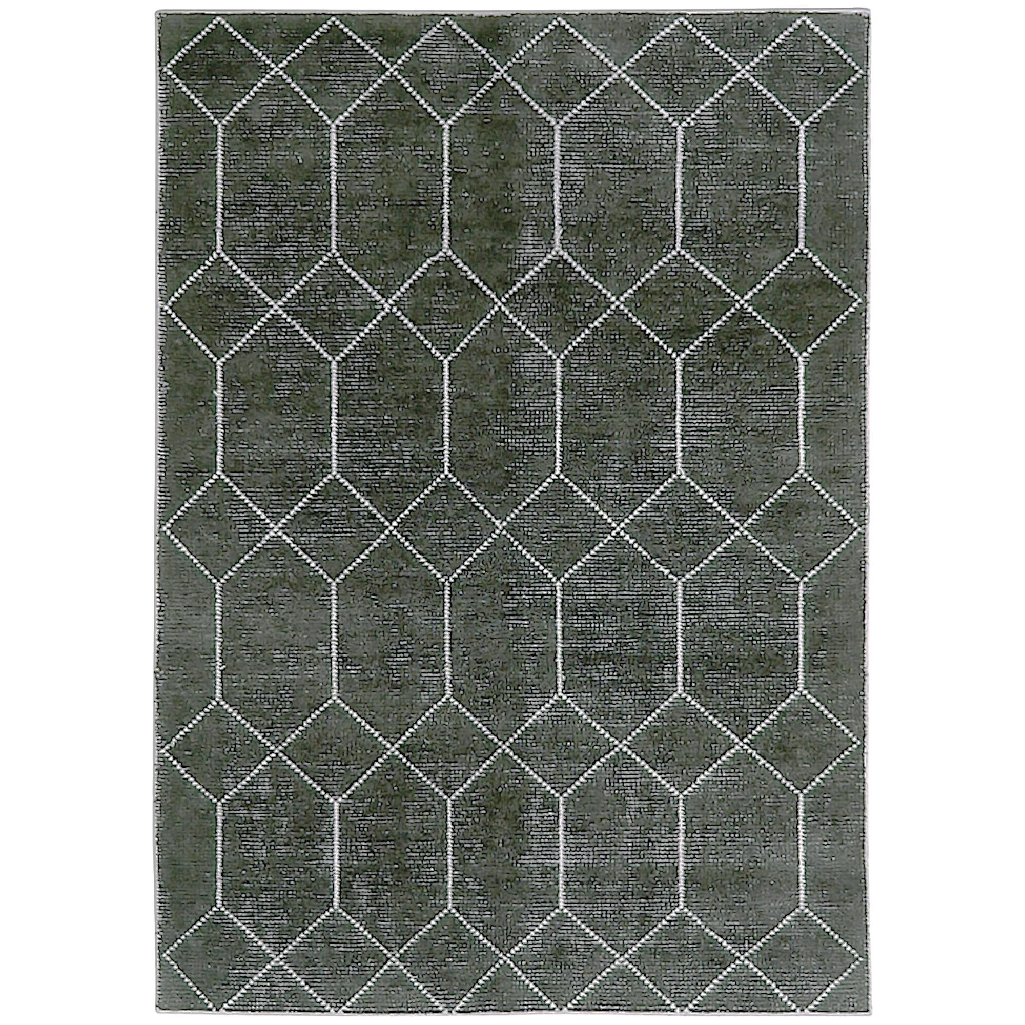 Geometrics Hand Knotted Wool Rug, 350x450cm, Black