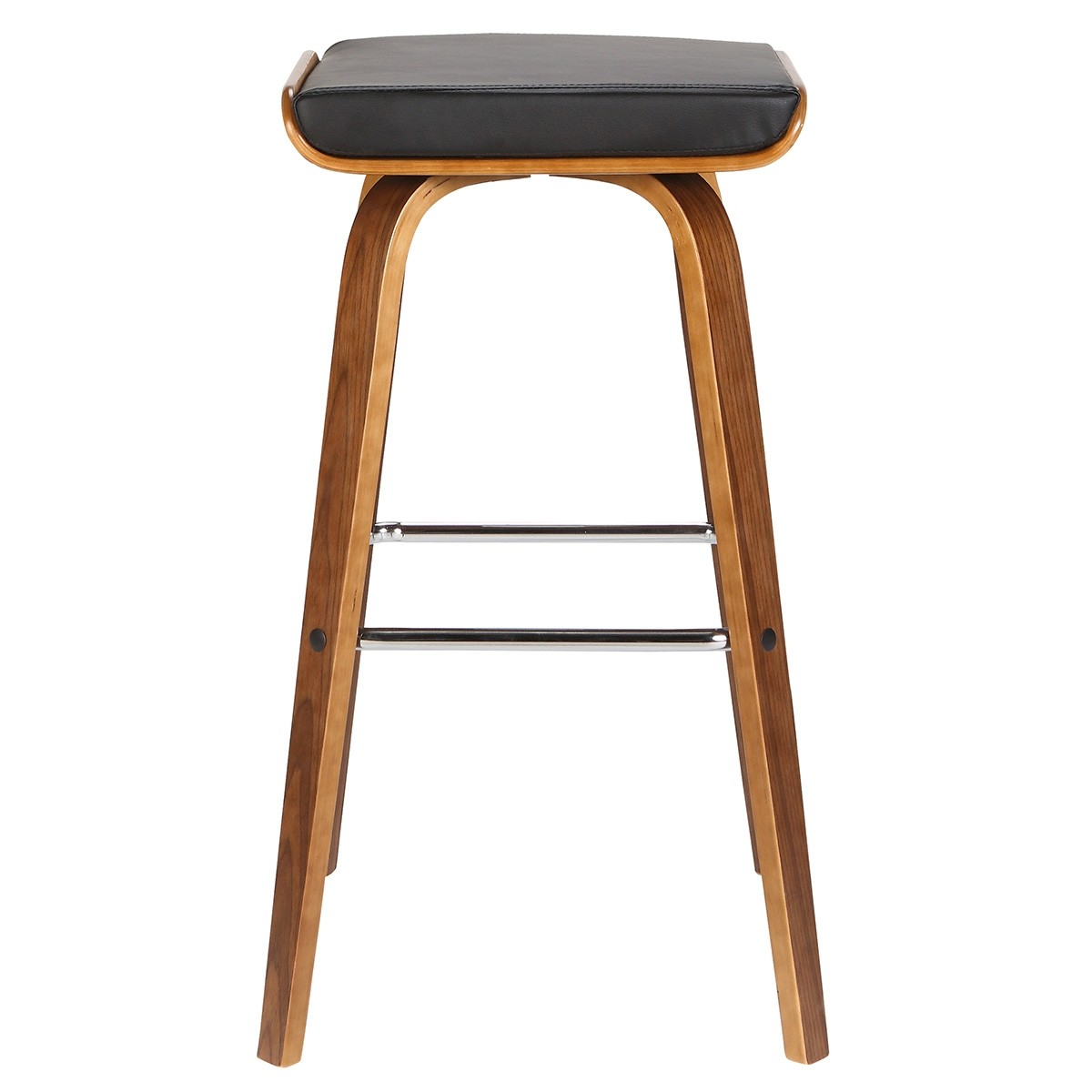 Maya Wooden Counter Stool with PU Seat, Black / Walnut