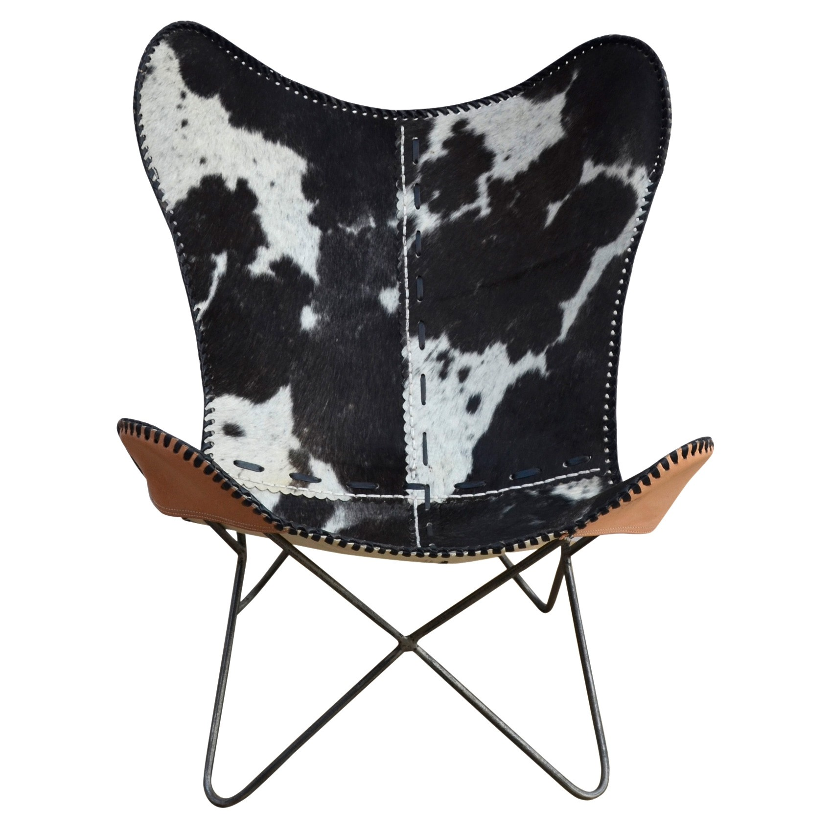 Morrow Handcrafted Diamond Check Cowhide Butterfly Chair, Black