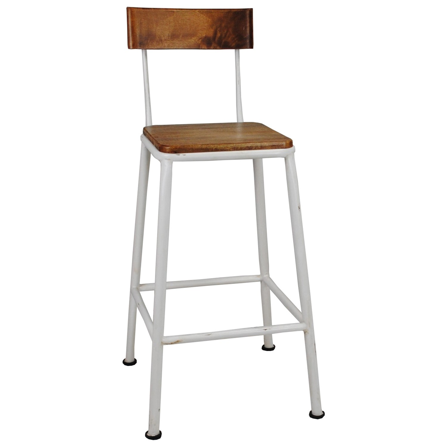 Hunston Metal Counter Chair with Timber Seat,  White