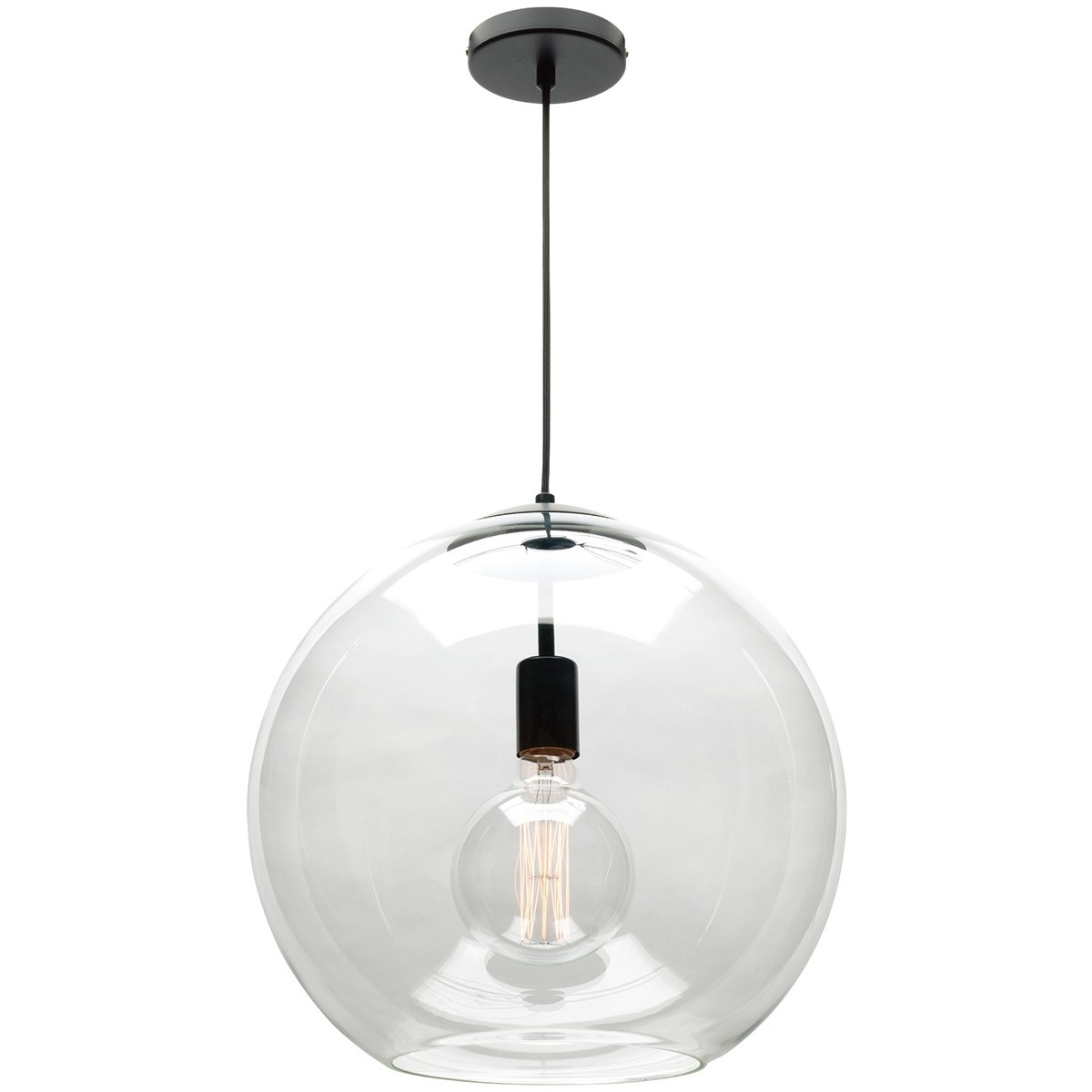 Orpheus Glass Pendant Light, Large, 1 Light, Clear / Black