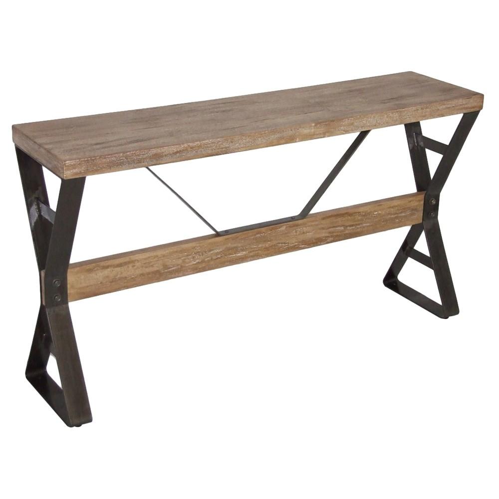 Massot Mango Wood & Metal Console Table, 140cm