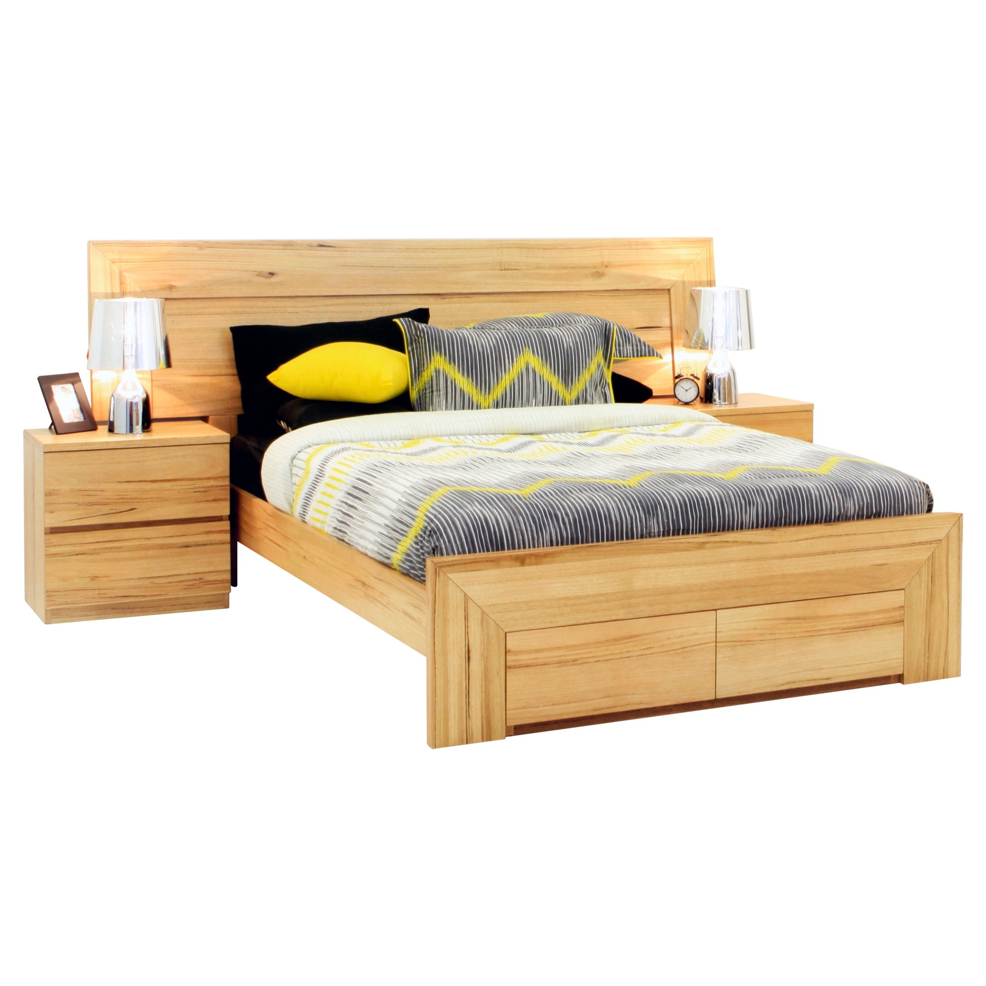 Renmark Messmate Timber Bed with End Drawers, Queen