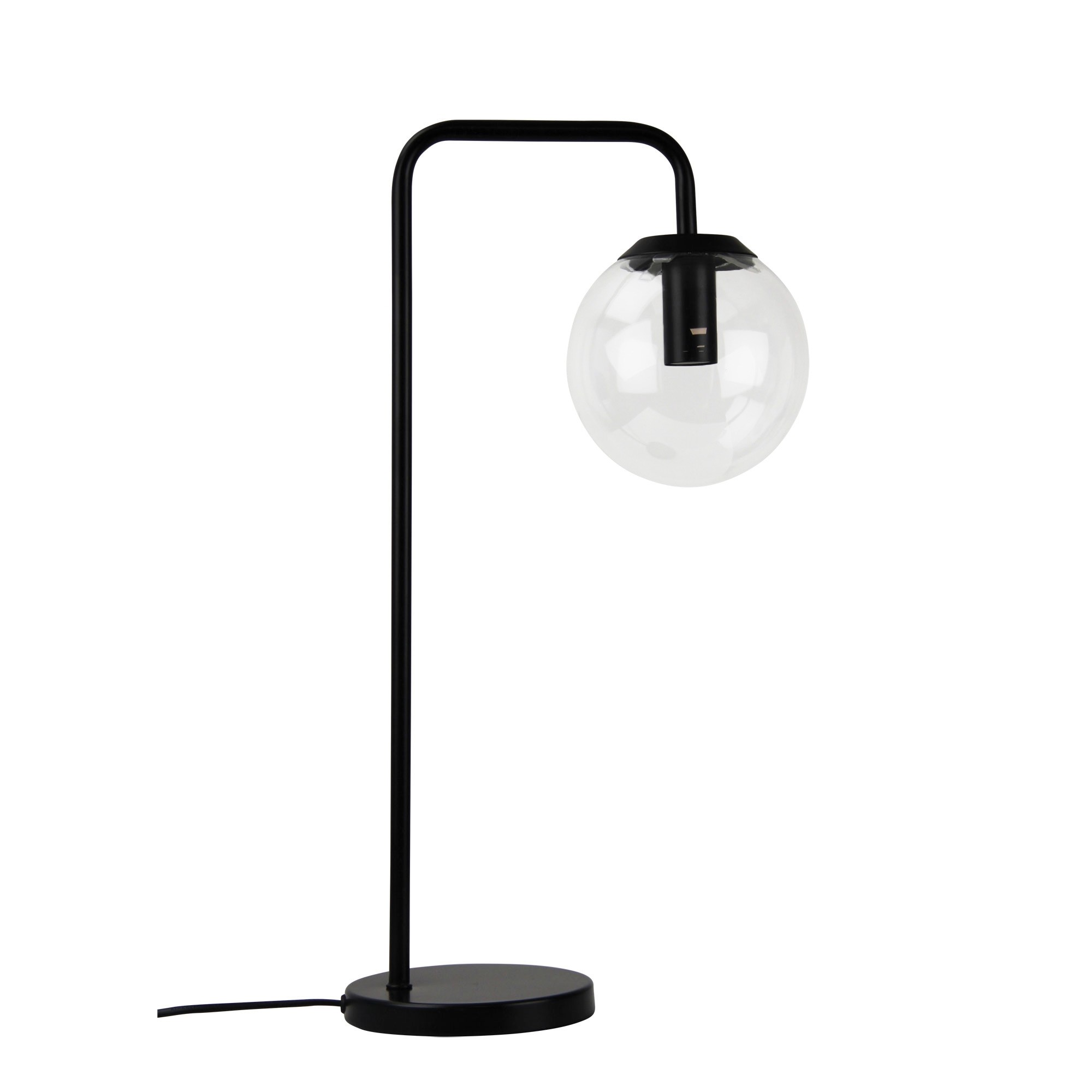 Newton Spherical Glass Table Lamp, Matt Black
