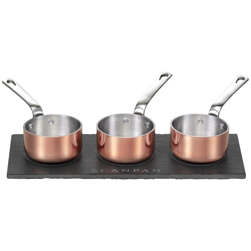 Scanpan Maitre D Set of 3 Mini Sauce Pots with Slate Serving Tray