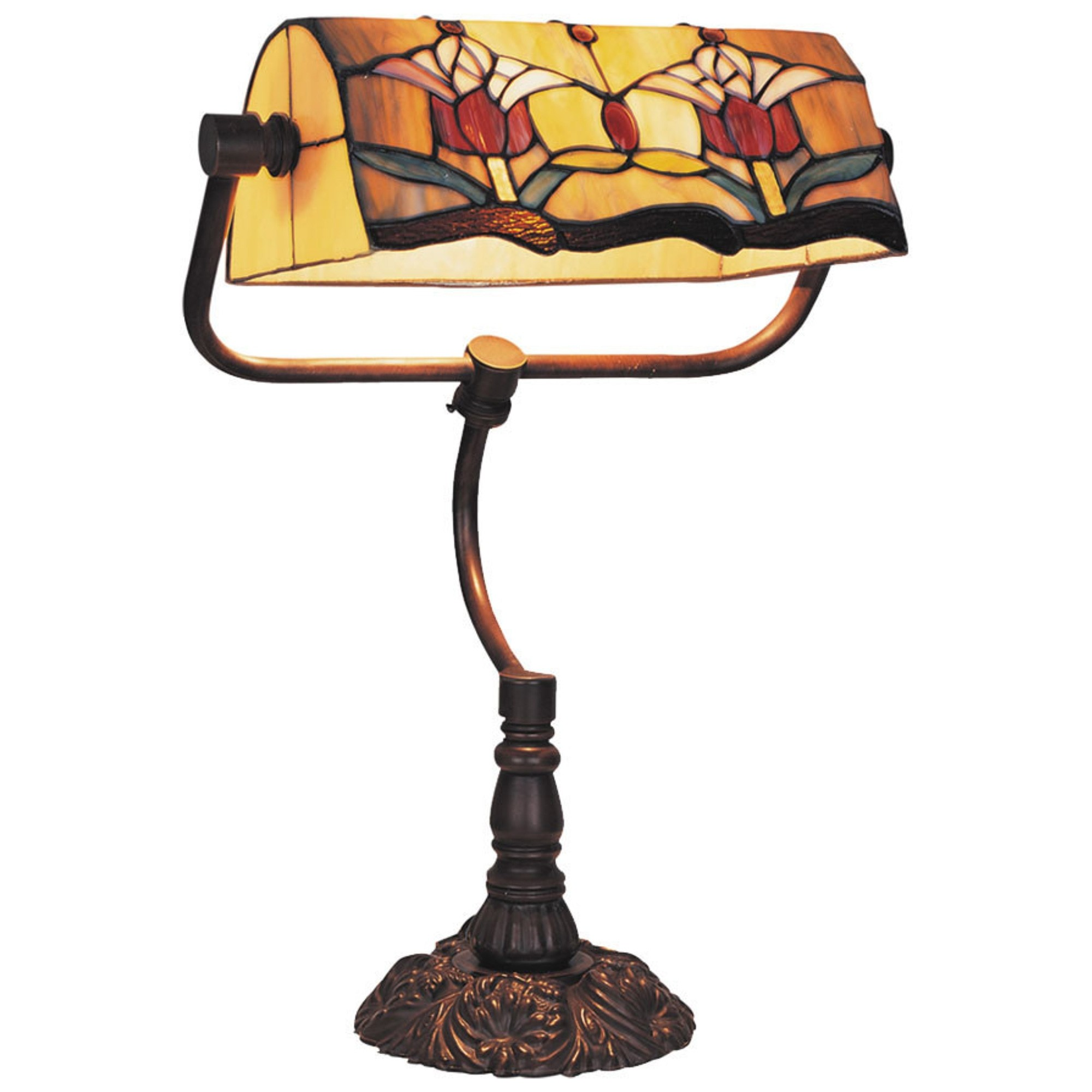Red Tulip Tiffany Style Stained Glass Bankers Table Lamp