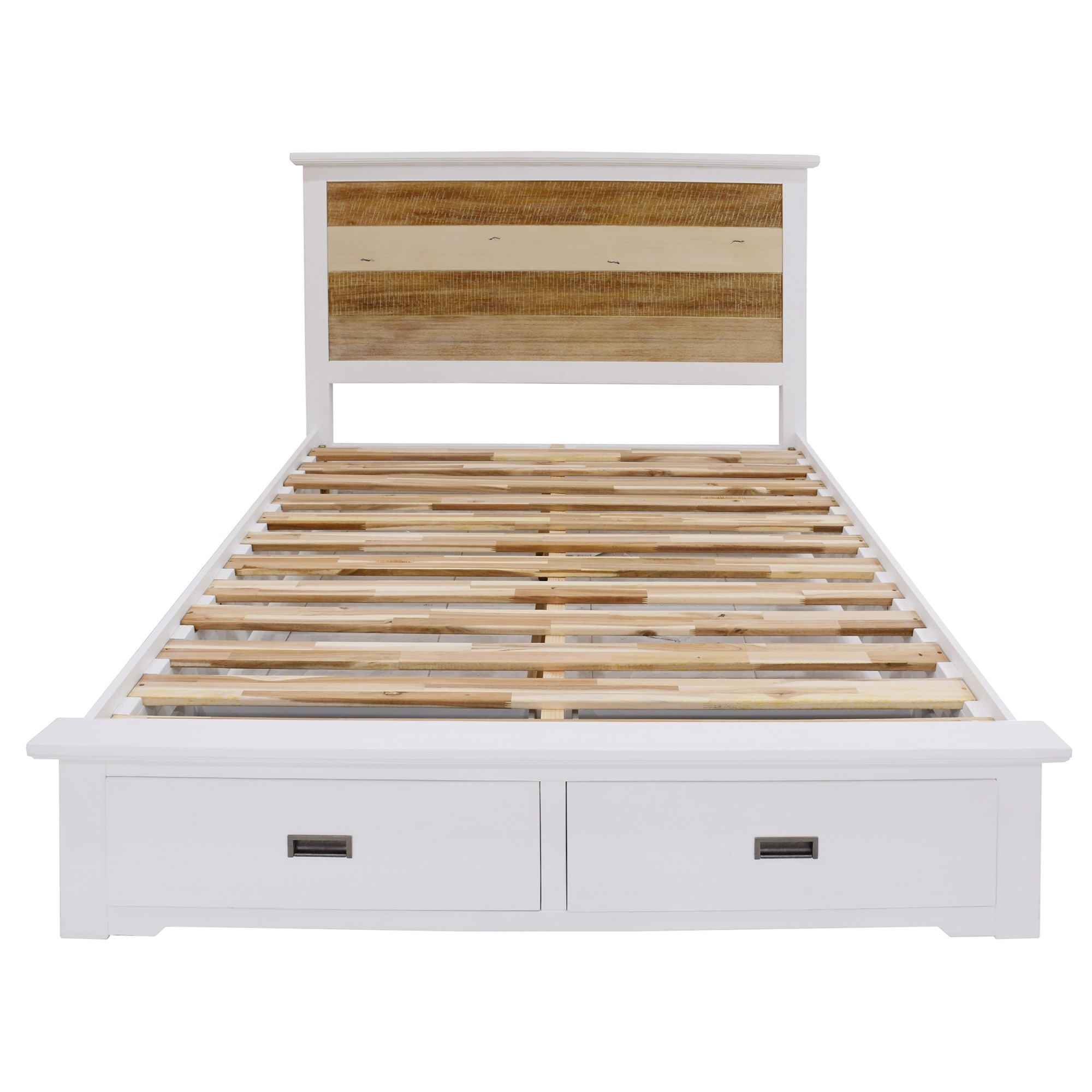 Largo Acacia Timber Bed with End Drawers, Queen